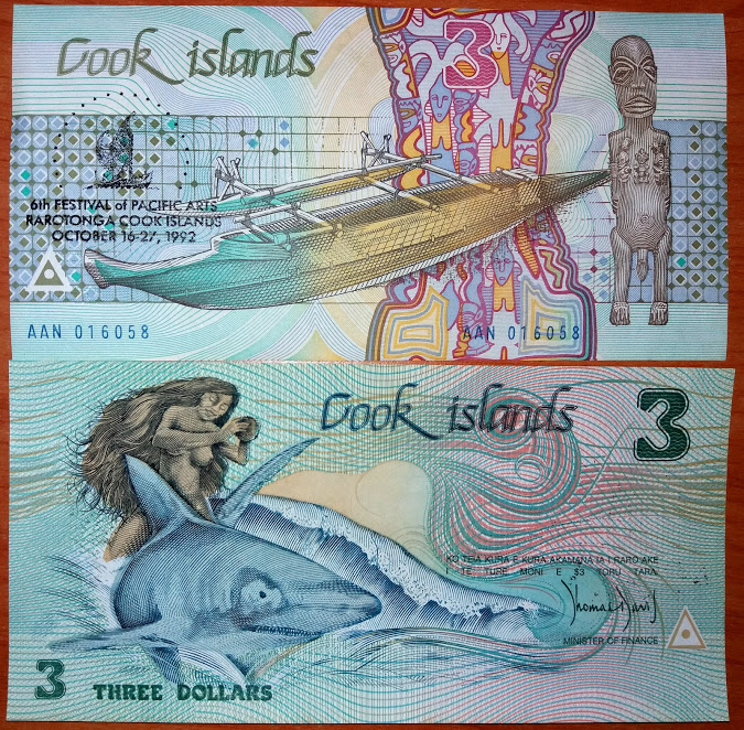 Cook Islands 3 Dollars 1987 UNC