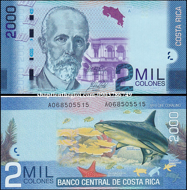 Costa Rica 1000 Mil Colones 2015 UNC Polyme